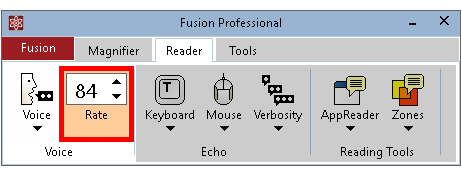 Voice Rate box shown on the Fusion Reader tab