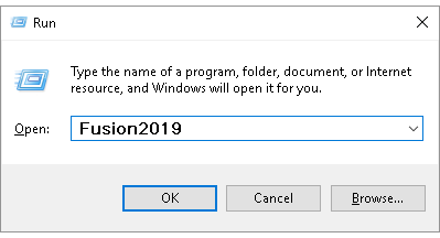 Starting Fusion using the Run dialog box
