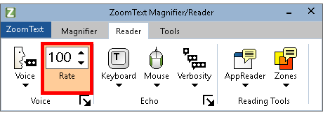 Voice Rate box shown on the Reader tab