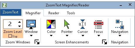ZoomText ribbon with magnifier features shown on Magnification tab