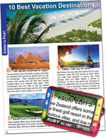RUBY XL HD magnifying a vacation brochure