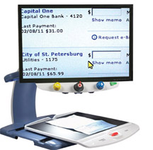 The TOPAZ displays a magnified view of an online banking page