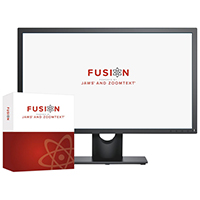 image of Fusion product box and Fusion logo displayed on a screen